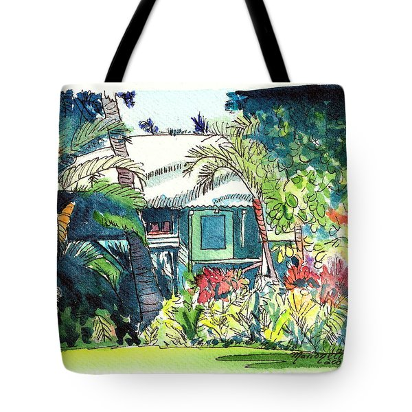Tote Bag featuring the painting Hawaiian Cottage 3 by Marionette Taboniar
