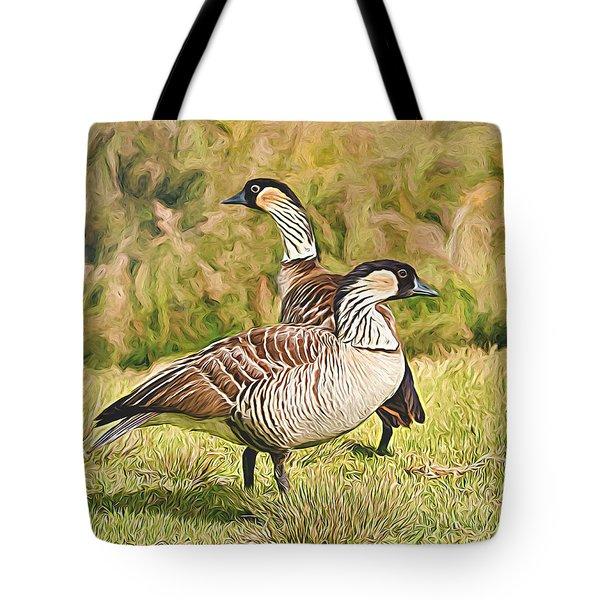 Hawaiian Goose Couple Tote Bag
