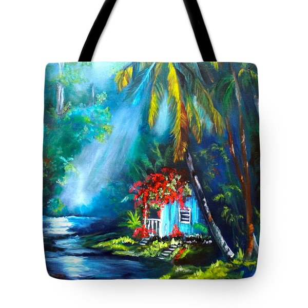 Tote Bag featuring the painting Hawaiian Hut In The Mist by Jenny Lee