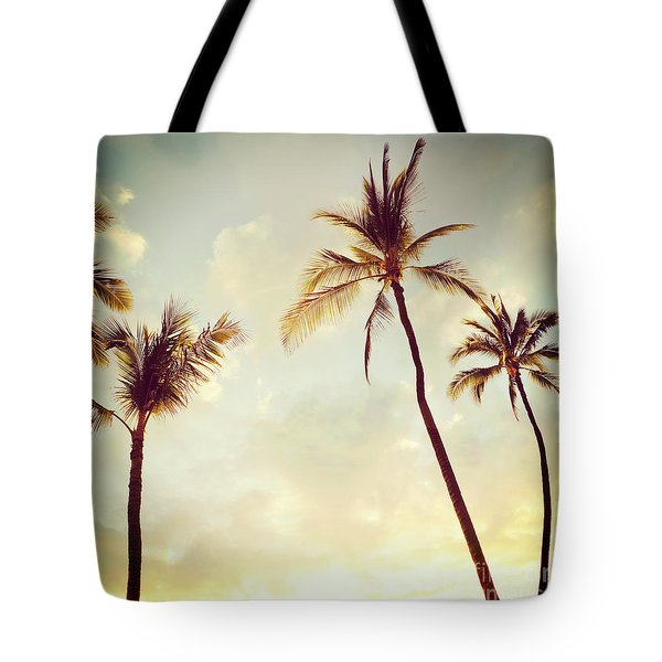Tote Bag featuring the photograph Hawaiian Palms - Hipster Photo Square by Charmian Vistaunet