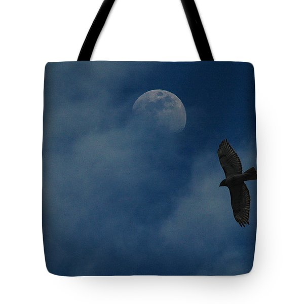 Tote Bag featuring the photograph Hawk And Moon Coming Out Of The Mist by Raymond Salani III