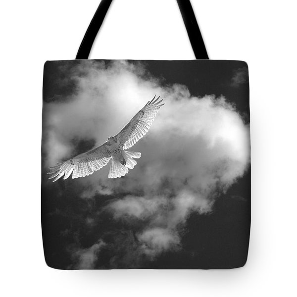 Hawk In Flight - Bw Tote Bag