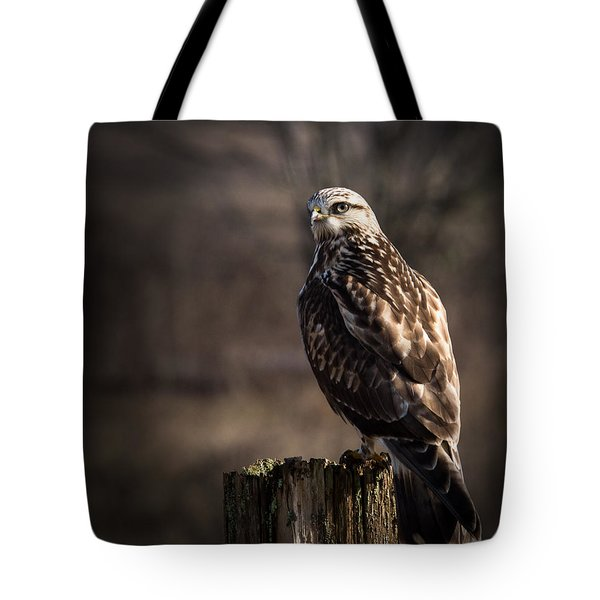 Hawk On A Post Tote Bag by Randy Hall