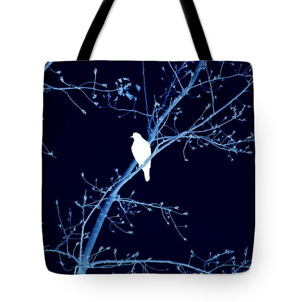 Hawk Silhouette On Blue Tote Bag