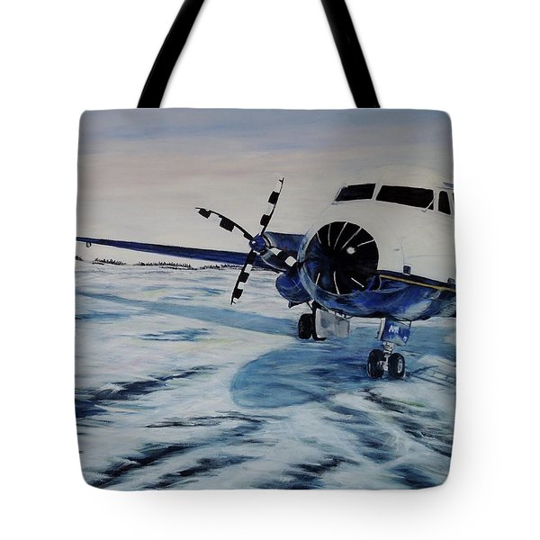 Tote Bag featuring the painting Hawker - Airplane On Ice by Marilyn  McNish