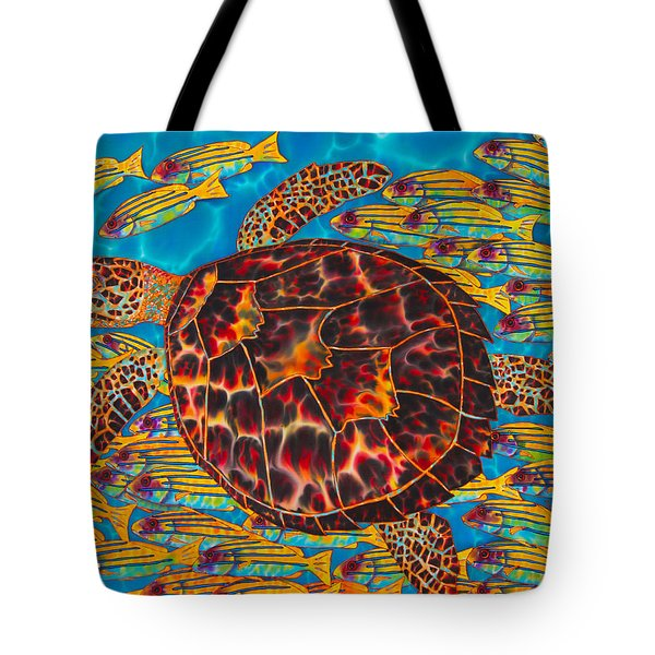 Hawksbill Sea  Turtle And  Snappers Tote Bag