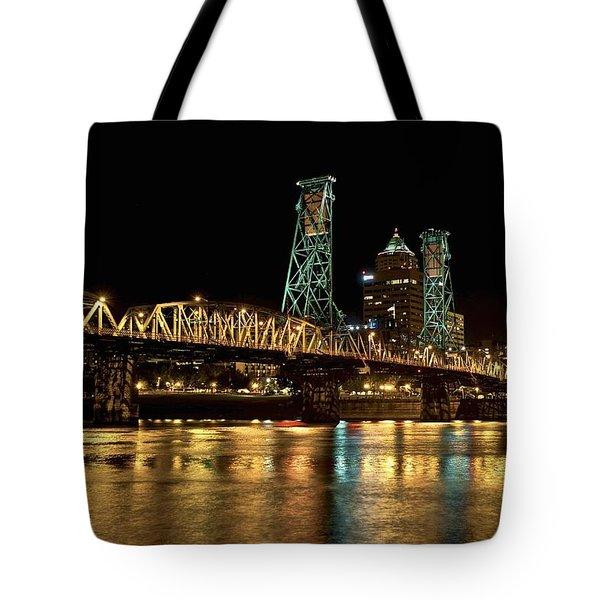 Hawthorne Bridge Over Willamette River Tote Bag