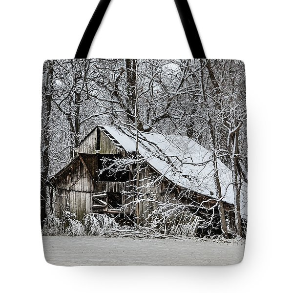 Tote Bag featuring the photograph Hay Barn In Snow by Debbie Green