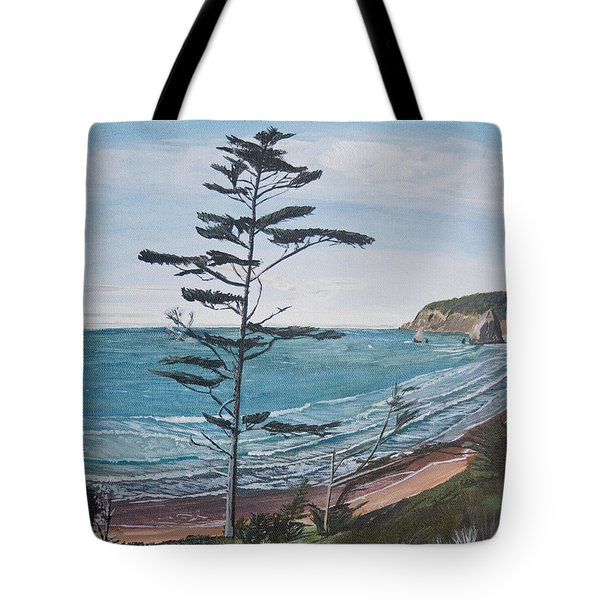 Tote Bag featuring the painting Hay Stack Rock From The South On The Oregon Coast by Ian Donley
