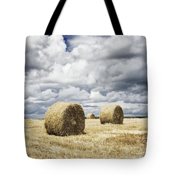 Haybales In A Field In England Uk Tote Bag by Jon Boyes