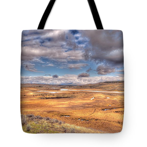 Hayden Valley Bison On Yellowstone River Tote Bag