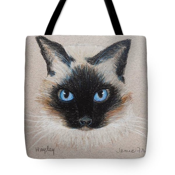 Tote Bag featuring the drawing Hayley by Jamie Frier