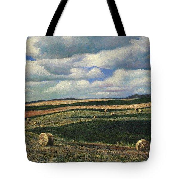Hayrolls On Swirl Field In Latrobe By Christopher Shellhammer Tote Bag