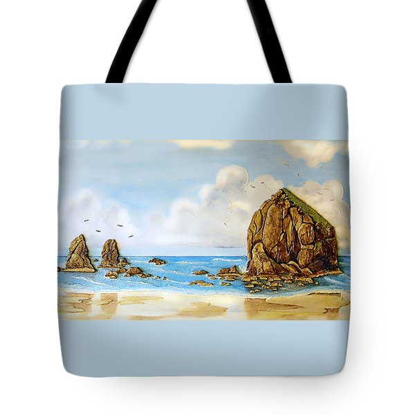 Haystack Relief Tote Bag by Wendy McKennon