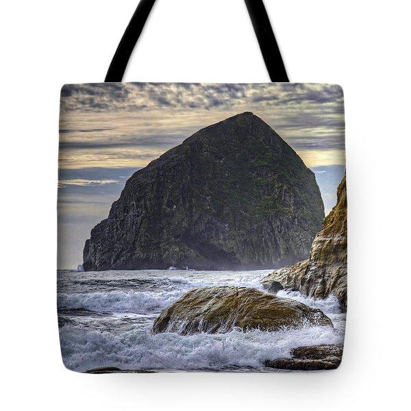 Haystack Rock At Cape Kiwanda Tote Bag by David Gn