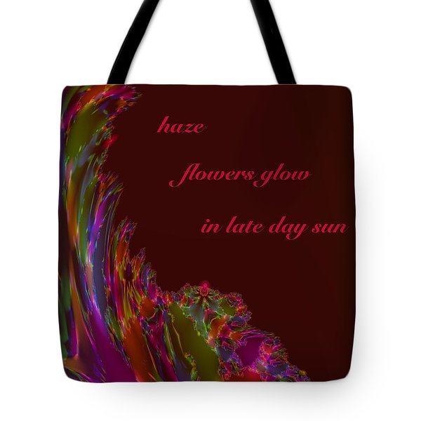 Tote Bag featuring the digital art Haze Haiga by Judi Suni Hall