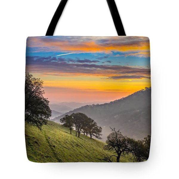Hazy East Bay Sunrise Tote Bag by Marc Crumpler