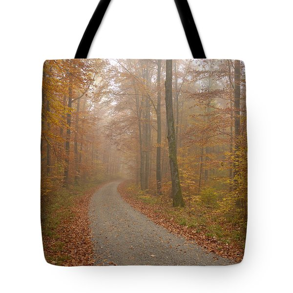 Hazy Forest In Autumn Tote Bag by Matthias Hauser
