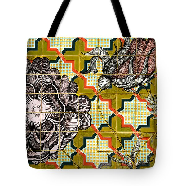 Tote Bag featuring the photograph Hdr Tiled Flowers by MaryJane Armstrong