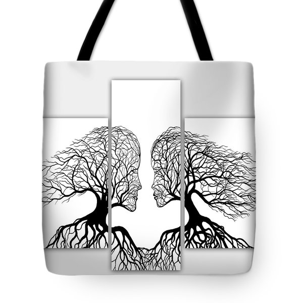 He And She In Love Triptych Acrylic On Canvas Tote Bag