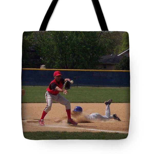 Head Slide In Baseball Tote Bag by Thomas Woolworth