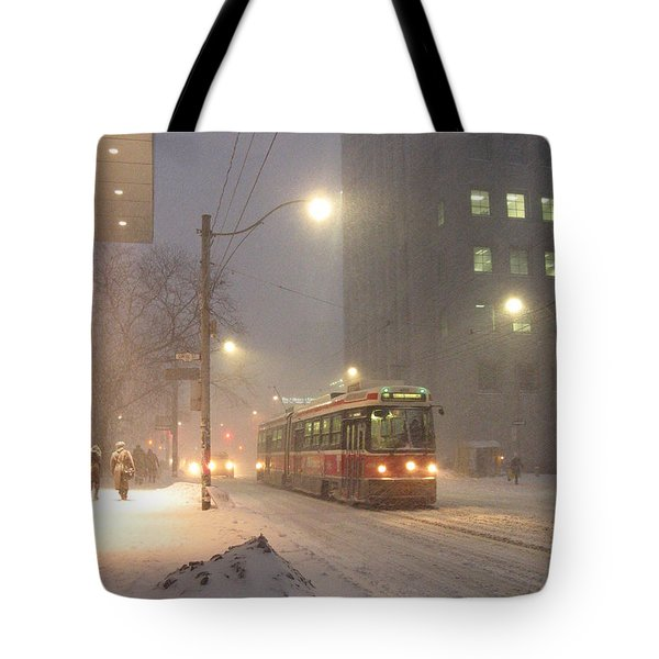 Heading Home In The Snowstorm Tote Bag