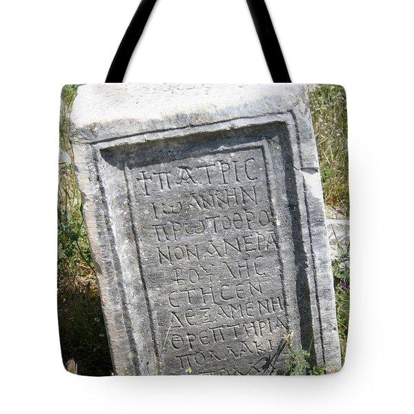 Headstone In The Basilica Church Aphrodisias Tote Bag by Tracey Harrington-Simpson
