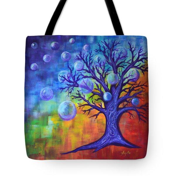 Tote Bag featuring the painting Healing Bubbles by Agata Lindquist