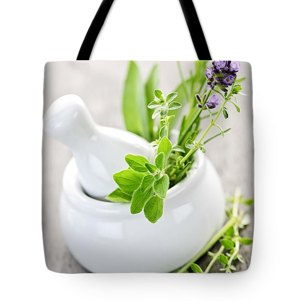 Healing Herbs In Mortar And Pestle Tote Bag