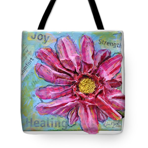 Tote Bag featuring the painting Healing Pink Zinnia by Lisa Fiedler Jaworski