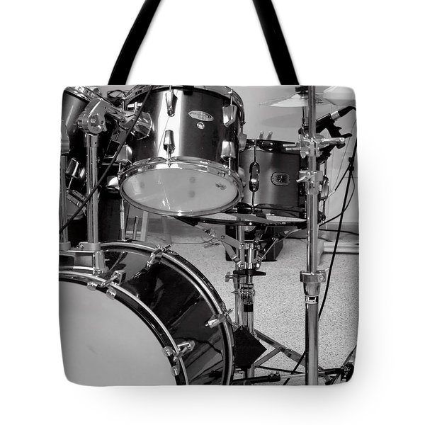 Hear The Music - A Drum Set Up For Recording Tote Bag