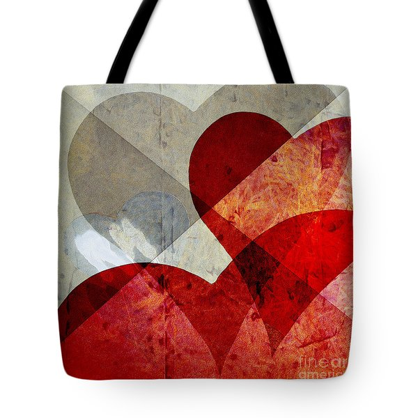Hearts 8 Square Tote Bag by Edward Fielding