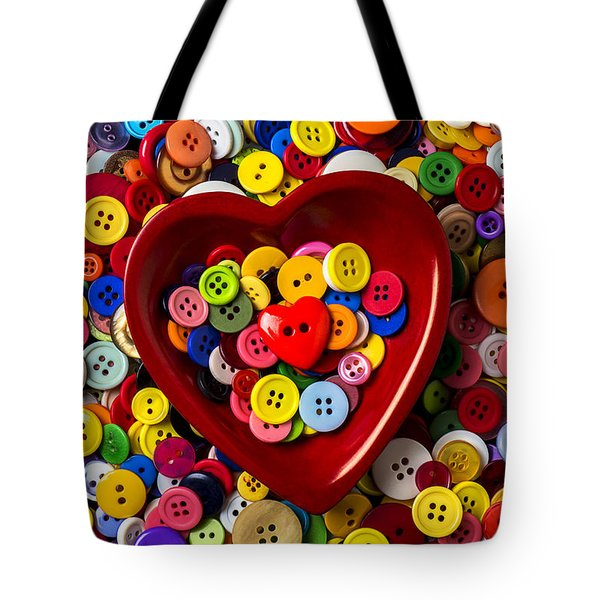 Heart Bowl With Buttons Tote Bag by Garry Gay