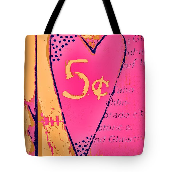 Heart Five Cents Tote Bag by Carol Leigh