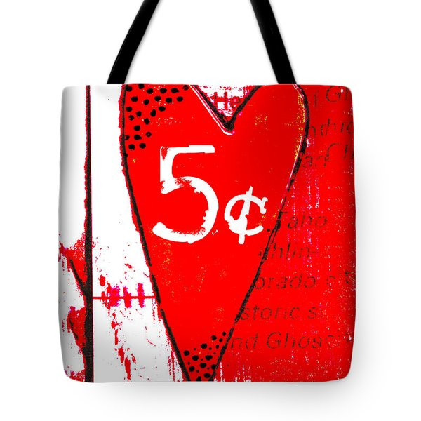 Heart Five Cents Red Tote Bag