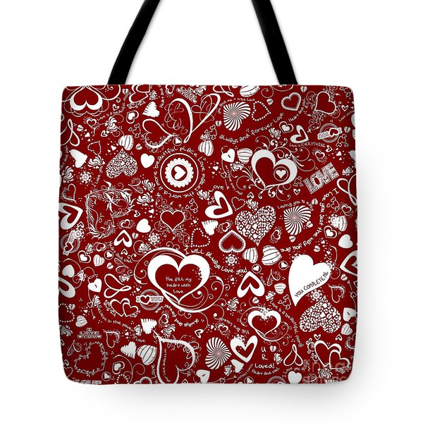 Heart Love Doodles Tote Bag by Margaret Newcomb
