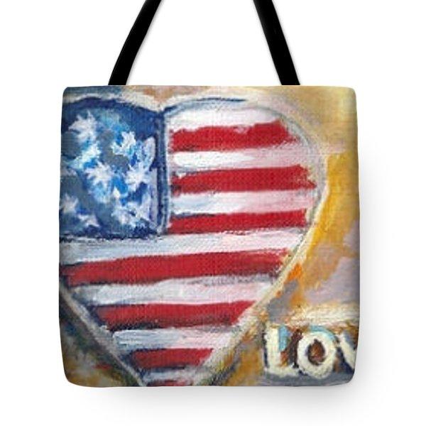 Heart Love Usa Tote Bag by Bernadette Krupa