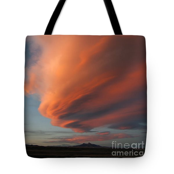 Heart Mountain Cirrus Sunset-signed Tote Bag