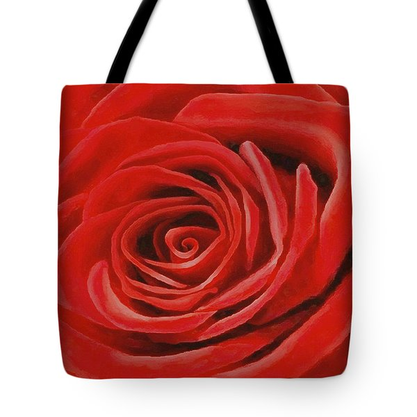 Tote Bag featuring the painting Heart Of A Red Rose by Sophia Schmierer