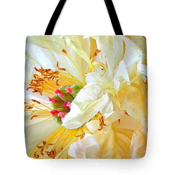 Tote Bag featuring the photograph Heart Of Peony by Nareeta Martin