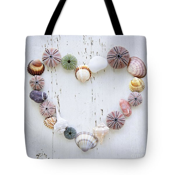 Heart Of Seashells And Rocks Tote Bag