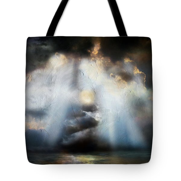 Tote Bag featuring the painting Heart Of The Storm - Abstract Realism by Isabella Howard