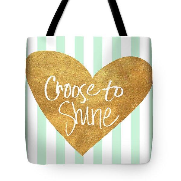 Heart On Mint Stripes IIi Tote Bag