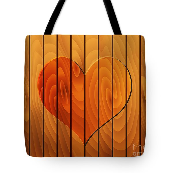 Heart On Wooden Texture Tote Bag by Michal Boubin