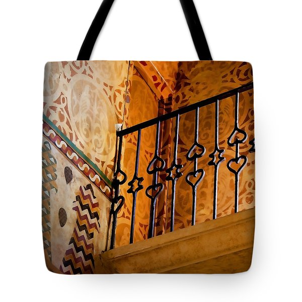 Tote Bag featuring the photograph Heart Railing by Art Block Collections