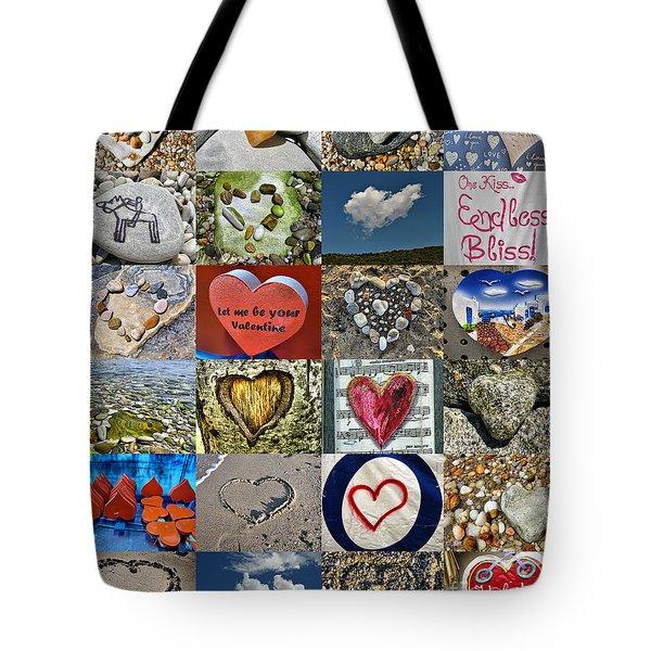 Heart Shape Collage  Tote Bag by Daliana Pacuraru