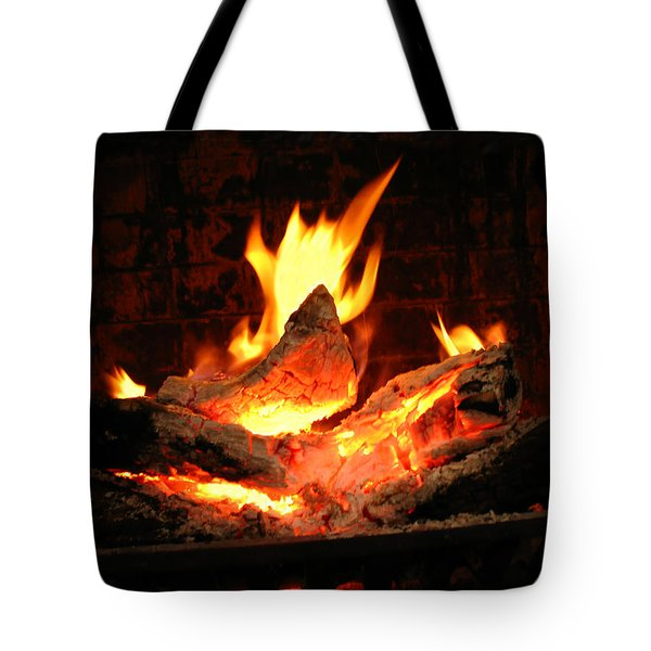 Heart-shaped Ember In Roaring Fire Tote Bag