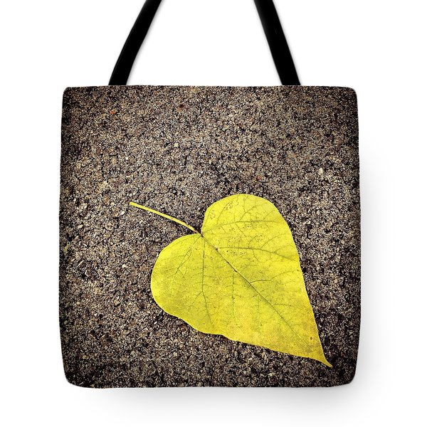 Heart Shaped Leaf On Pavement Tote Bag