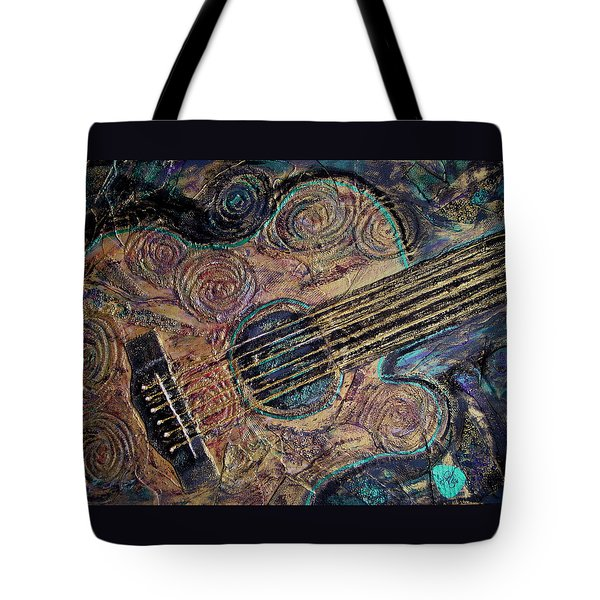Tote Bag featuring the mixed media Heart Strings by Gigi Dequanne