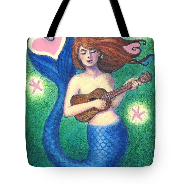 Tote Bag featuring the painting Heart Tail Mermaid by Sue Halstenberg